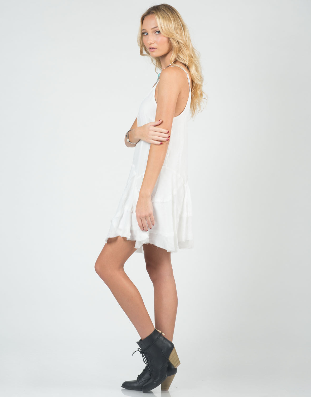 Side View of Flowy Stitched Cami Dress