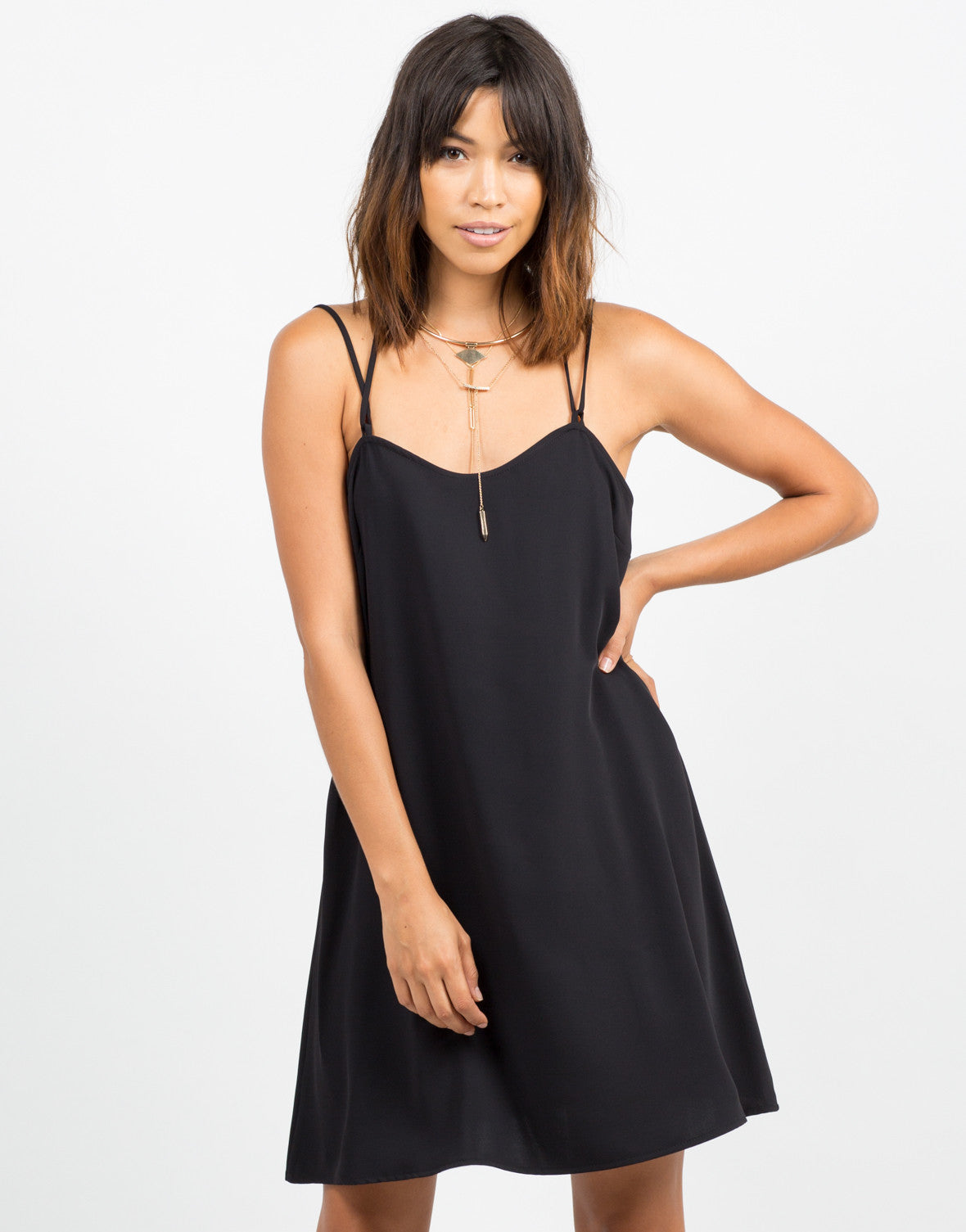 Front View of Flowy Strappy Slip Dress
