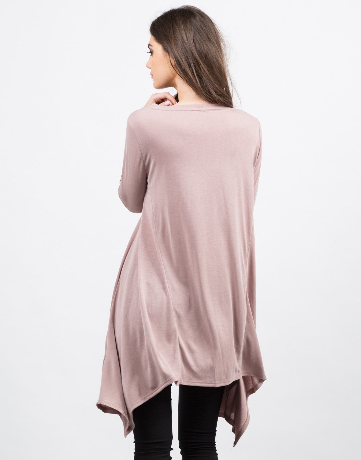 Back View of Flowy Tunic L/S Tee