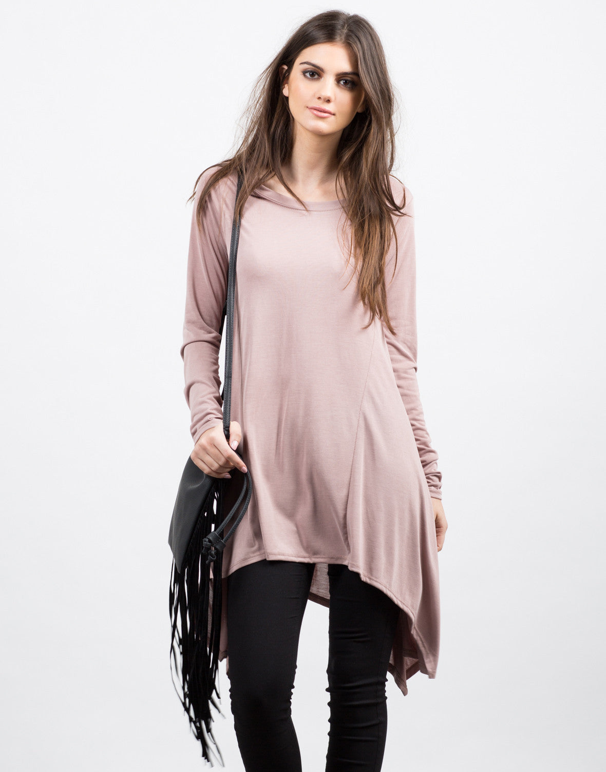 Front View of Flowy Tunic L/S Tee