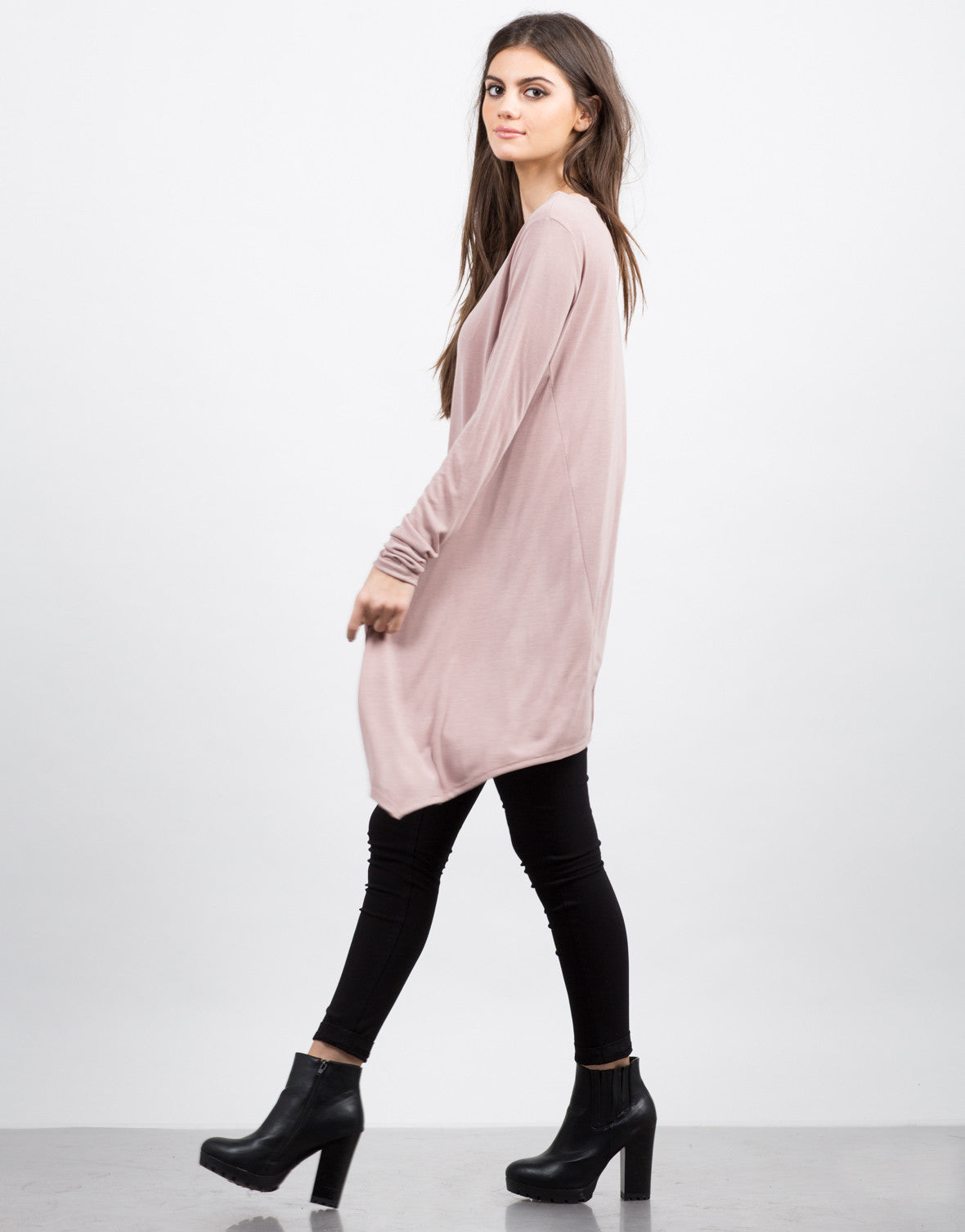 Side View of Flowy Tunic L/S Tee