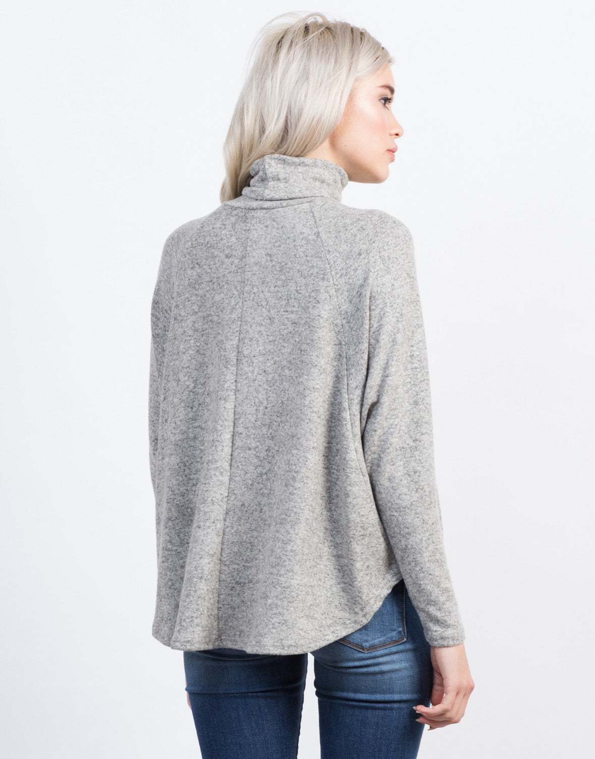 Back View of Flowy Turtleneck Top