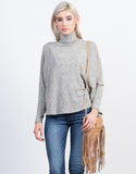 Front View of Flowy Turtleneck Top