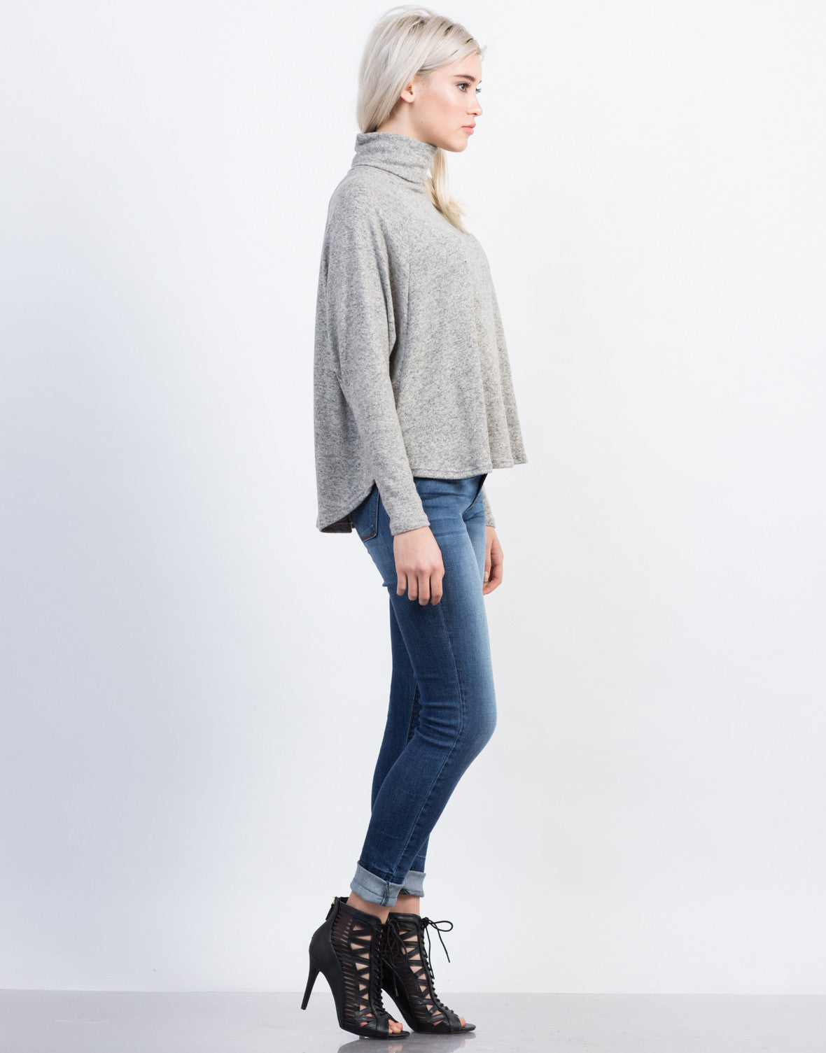 Side View of Flowy Turtleneck Top