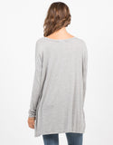 Back View of Flowy V-Neck Long Sleeve Tee