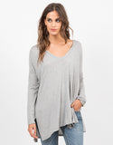 Front View of Flowy V-Neck Long Sleeve Tee