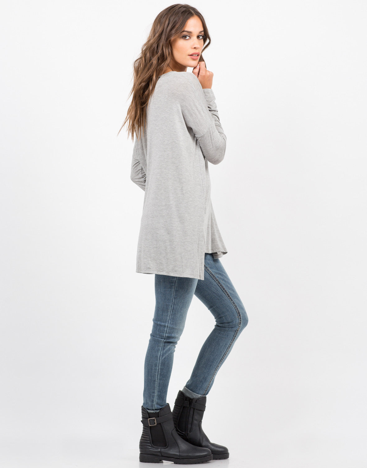 Side View of Flowy V-Neck Long Sleeve Tee