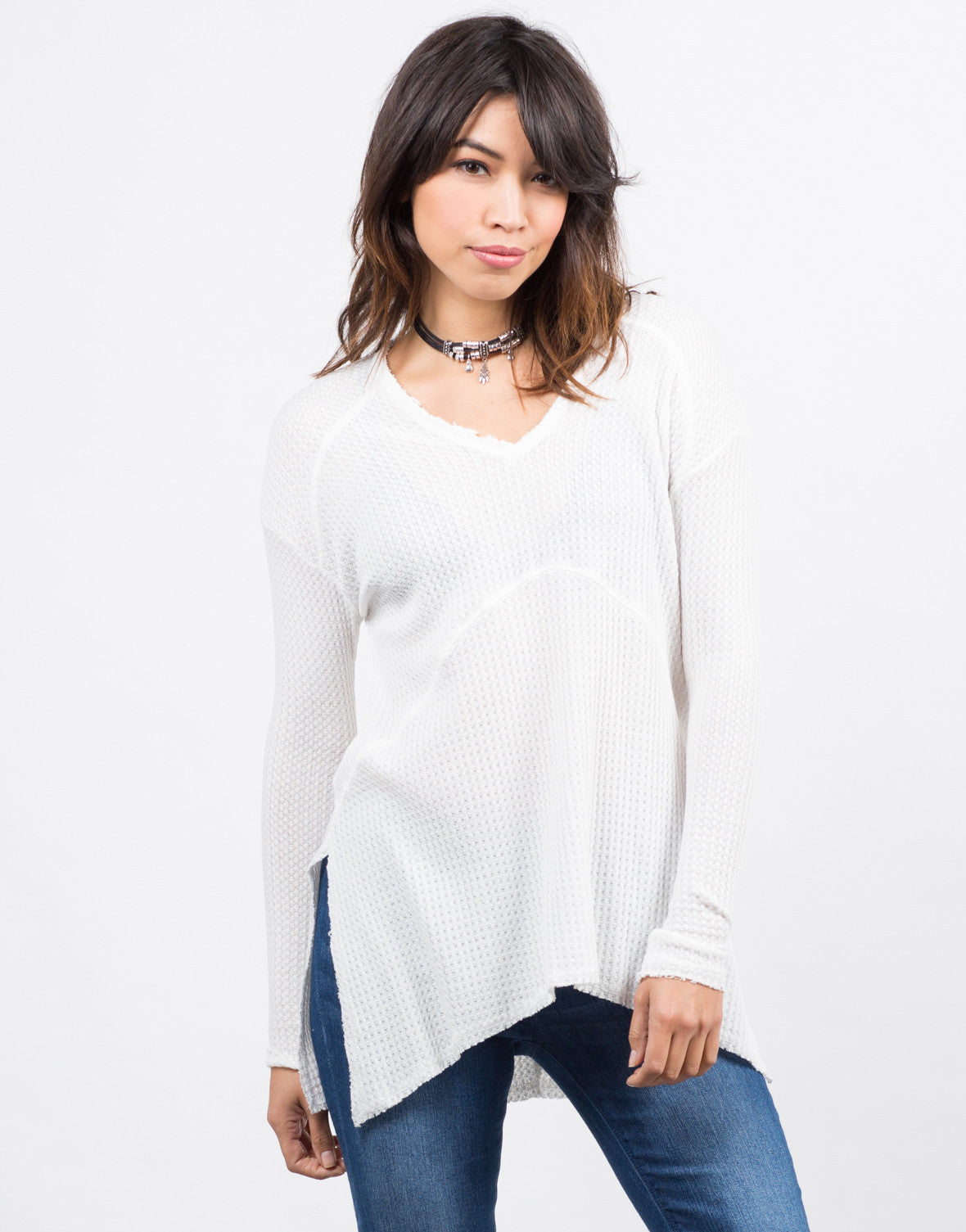 Front View of Flowy Waffle Long Sleeve Tee