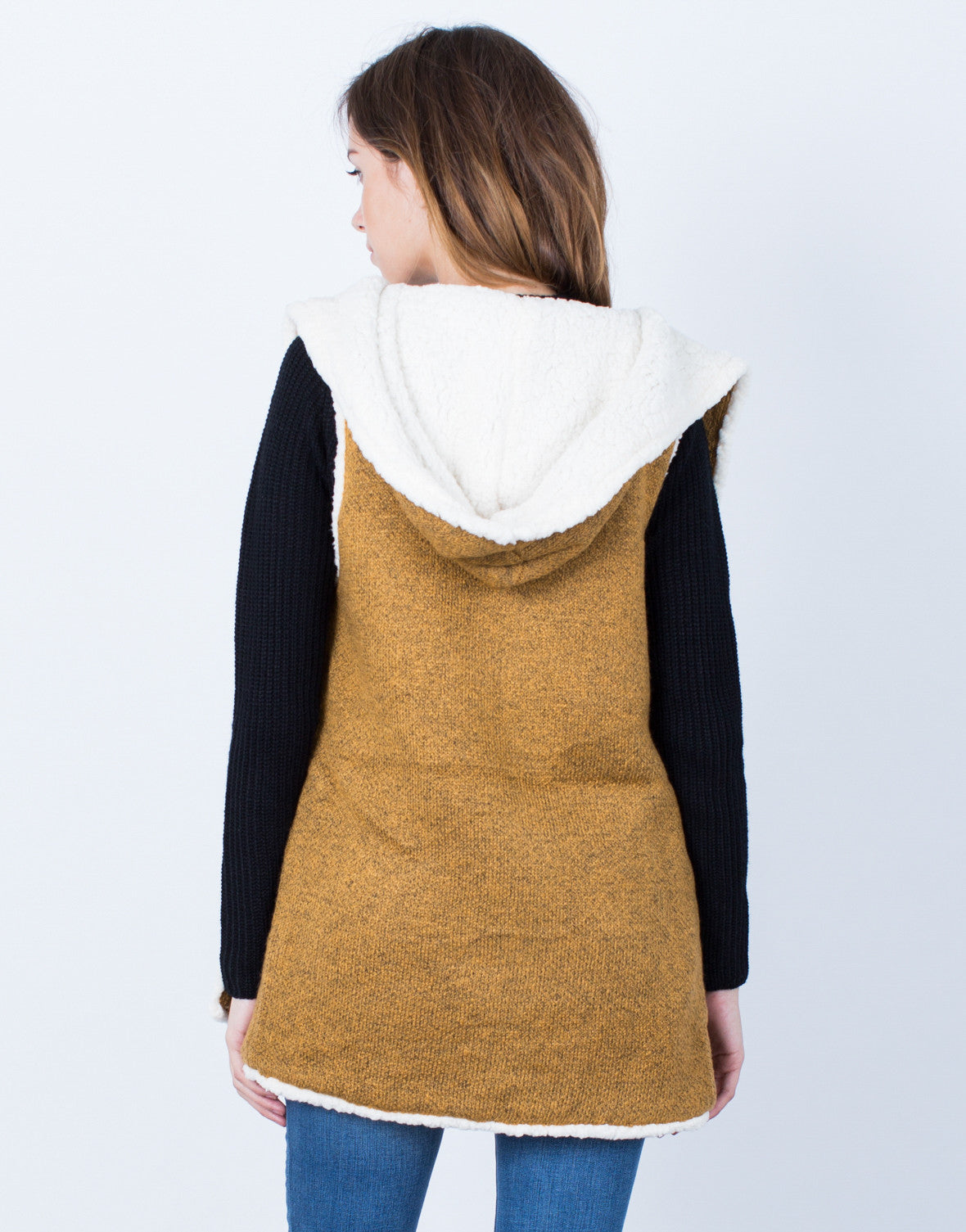 Back View of Fluffy Knit Hooded Vest
