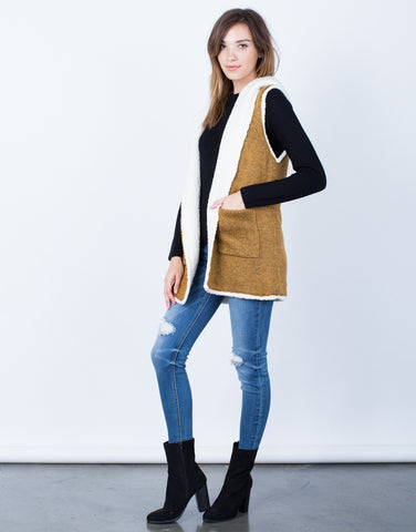 Side View of Fluffy Knit Hooded Vest