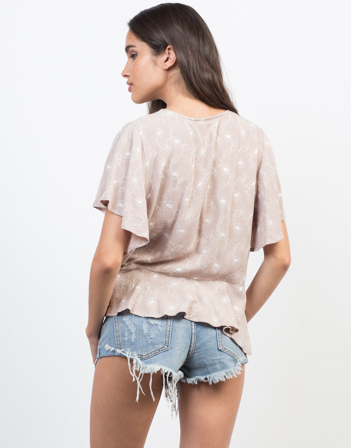 Back View of Flutter Floral Top