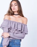 Detail of Ruffled Off-the-Shoulder Blouse