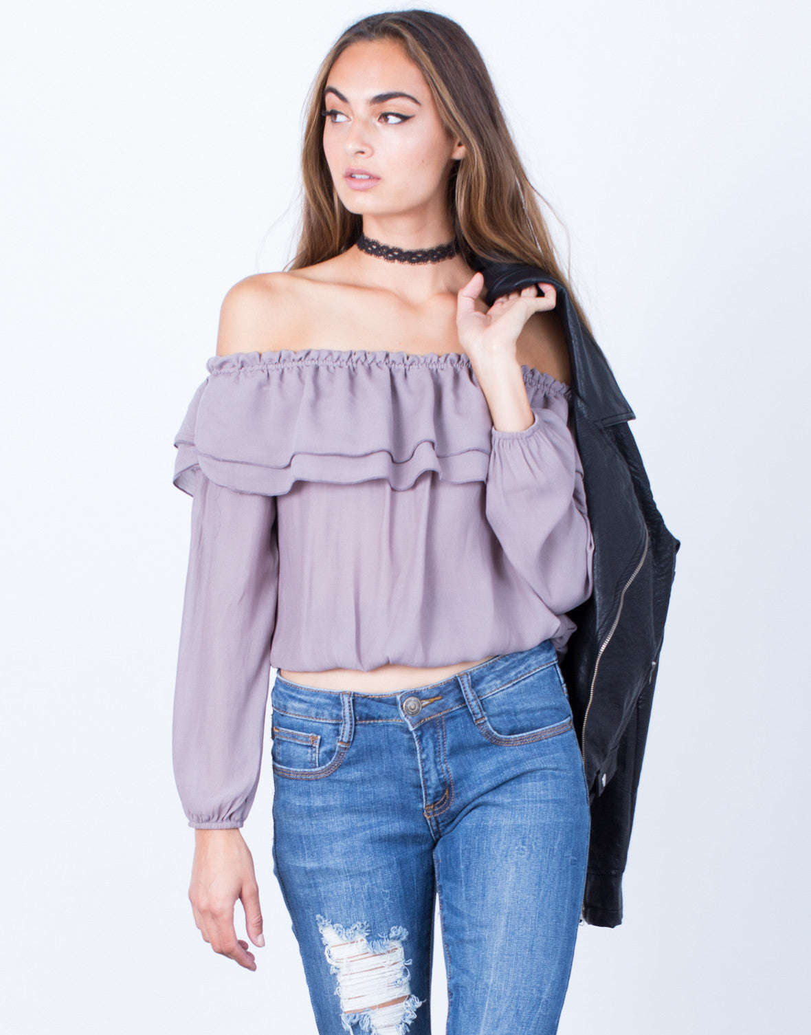 Ruffled Off-the-Shoulder Blouse - Chiffon Off the Shoulder Top ...