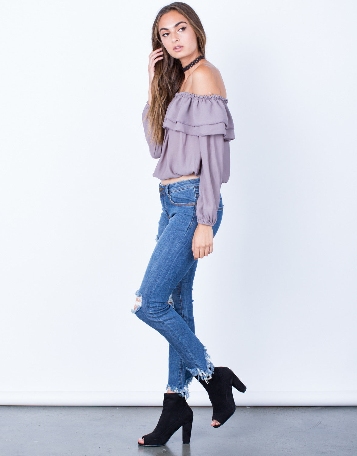 Side View of Ruffled Off-the-Shoulder Blouse