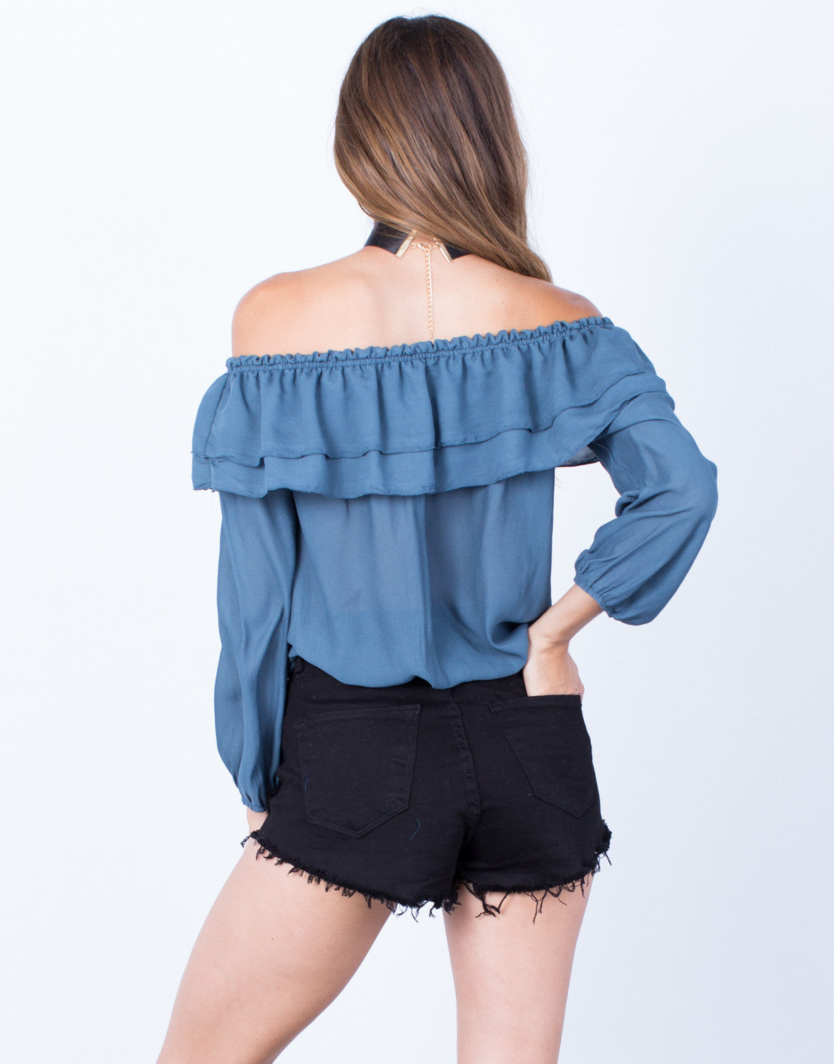 Back View of Ruffled Off-the-Shoulder Blouse