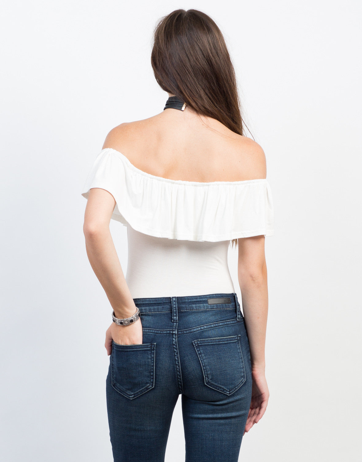 Back View of Flutter Off-the-Shoulder Bodysuit