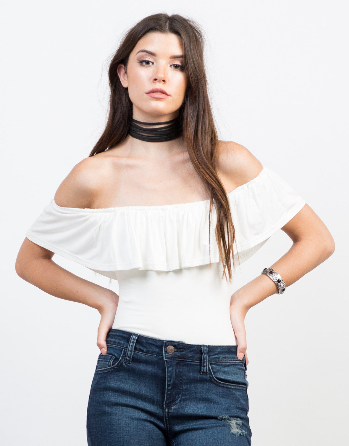 Front View of Flutter Off-the-Shoulder Bodysuit