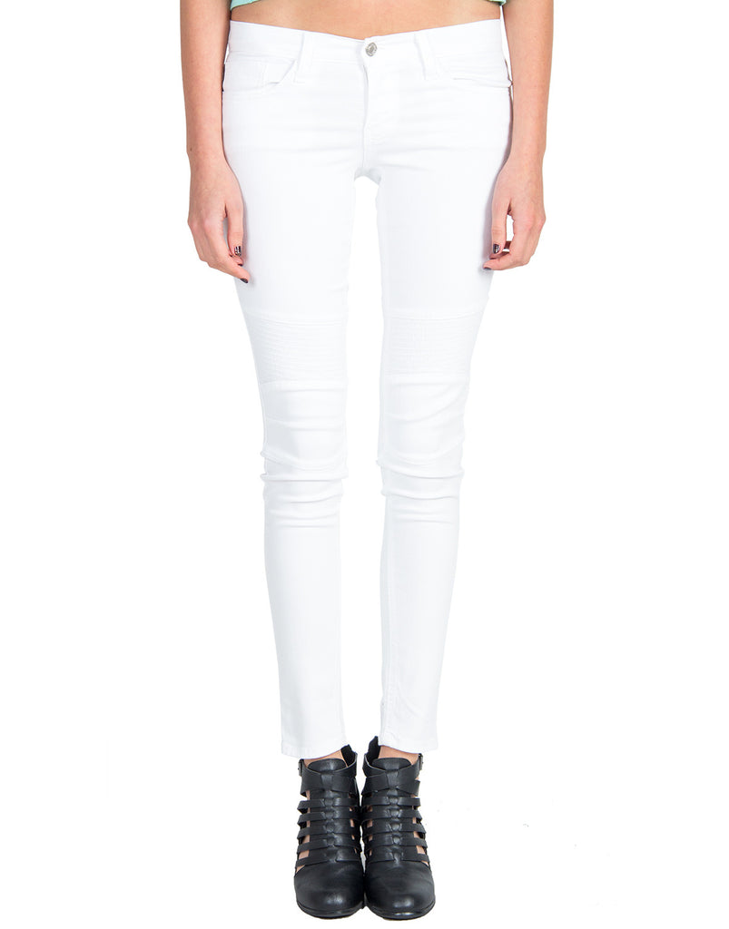 Flying Monkey - White Moto Denim Skinny Jeans - 2020AVE