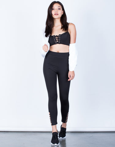 Front View of Foldover Caged Leggings