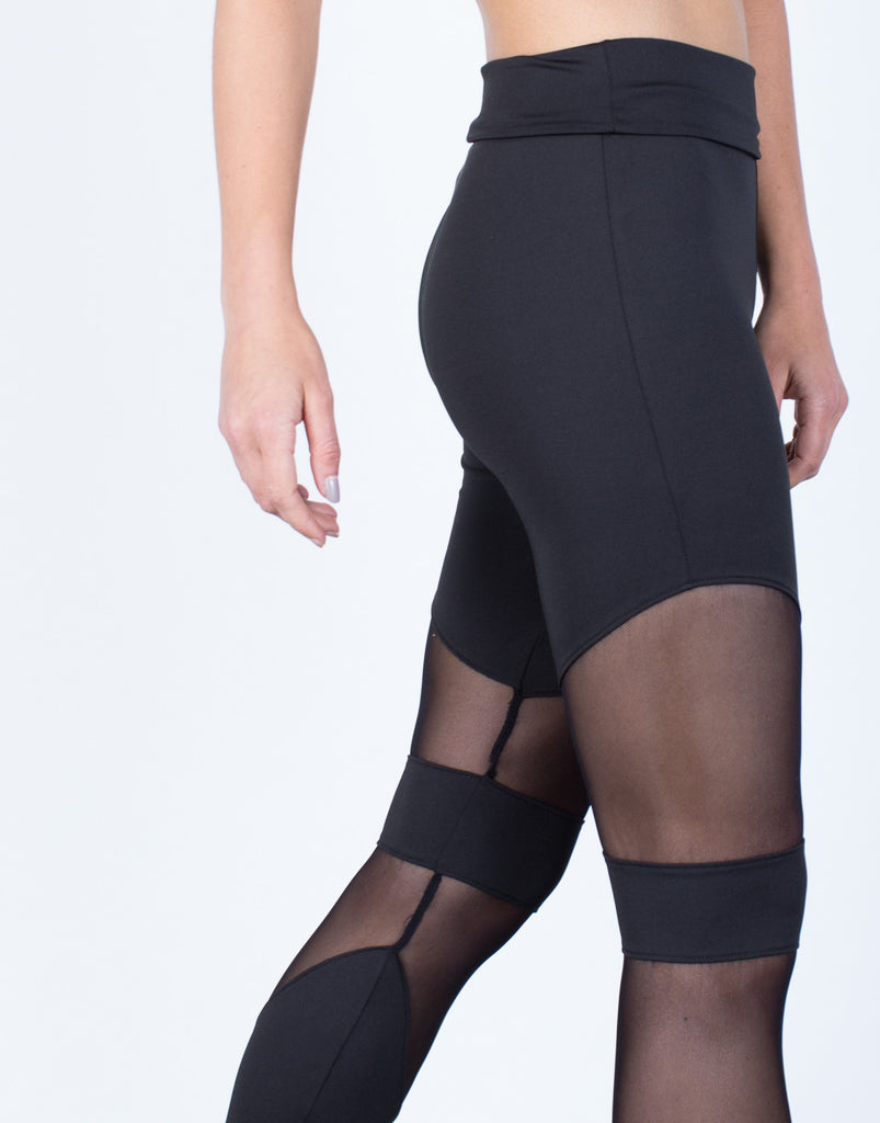 Detail of Foldover Mesh Paneled Leggings