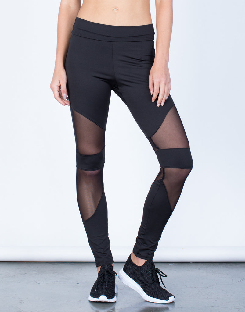 Front View of Foldover Mesh Paneled Leggings