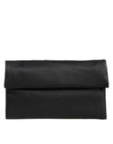 Foldover Envelope Leather Clutch - Black
