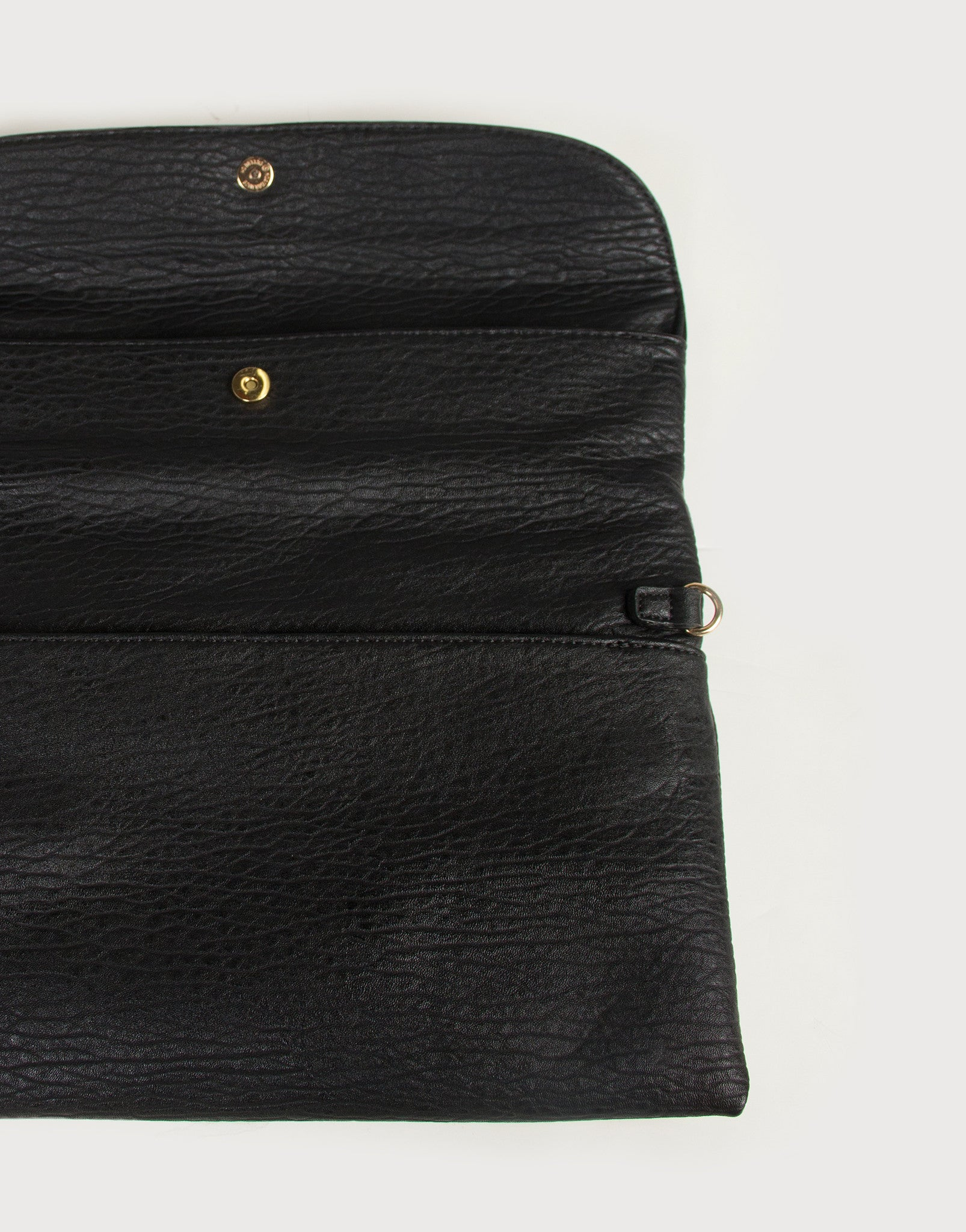 Foldover Envelope Leather Clutch - Black - 2020AVE
