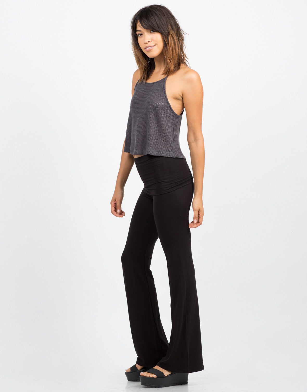 Side View of Fold Over Flared Pants