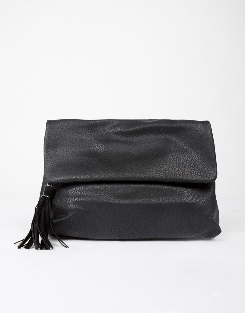 Foldover Medium Crossbody Bag - Black - 2020AVE