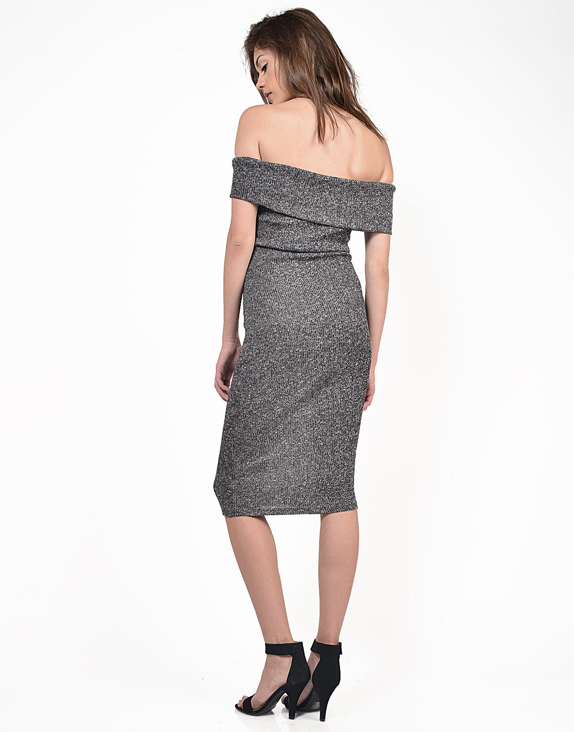 Back View of Fold Over Strapless Midi Dress