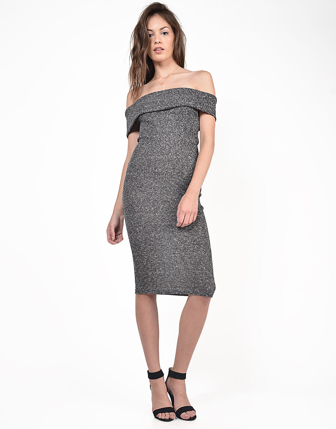 Front View of Fold Over Strapless Midi Dress