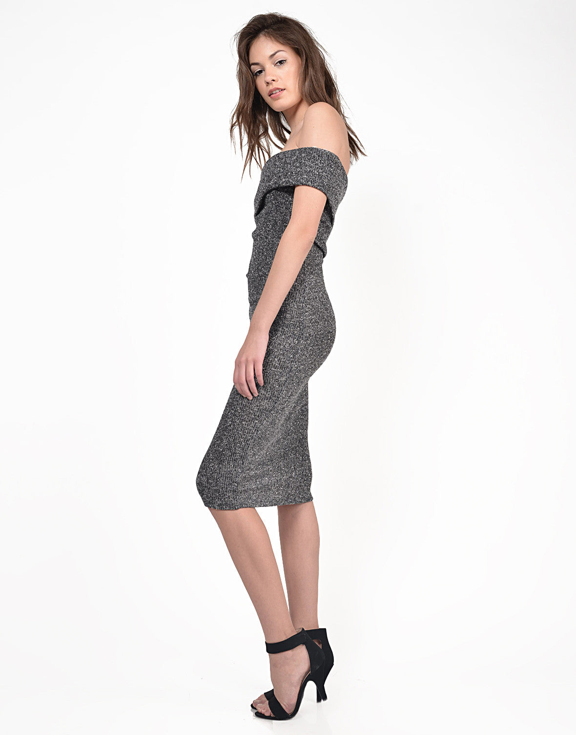 Side View of Fold Over Strapless Midi Dress