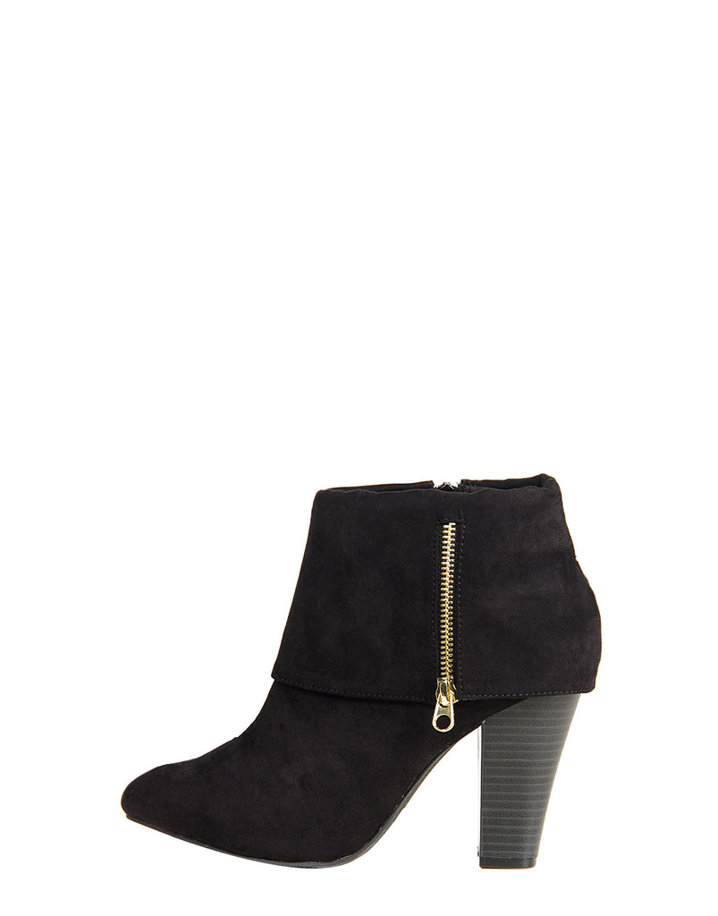 Foldover Suede Ankle Zip Booties - 2020AVE