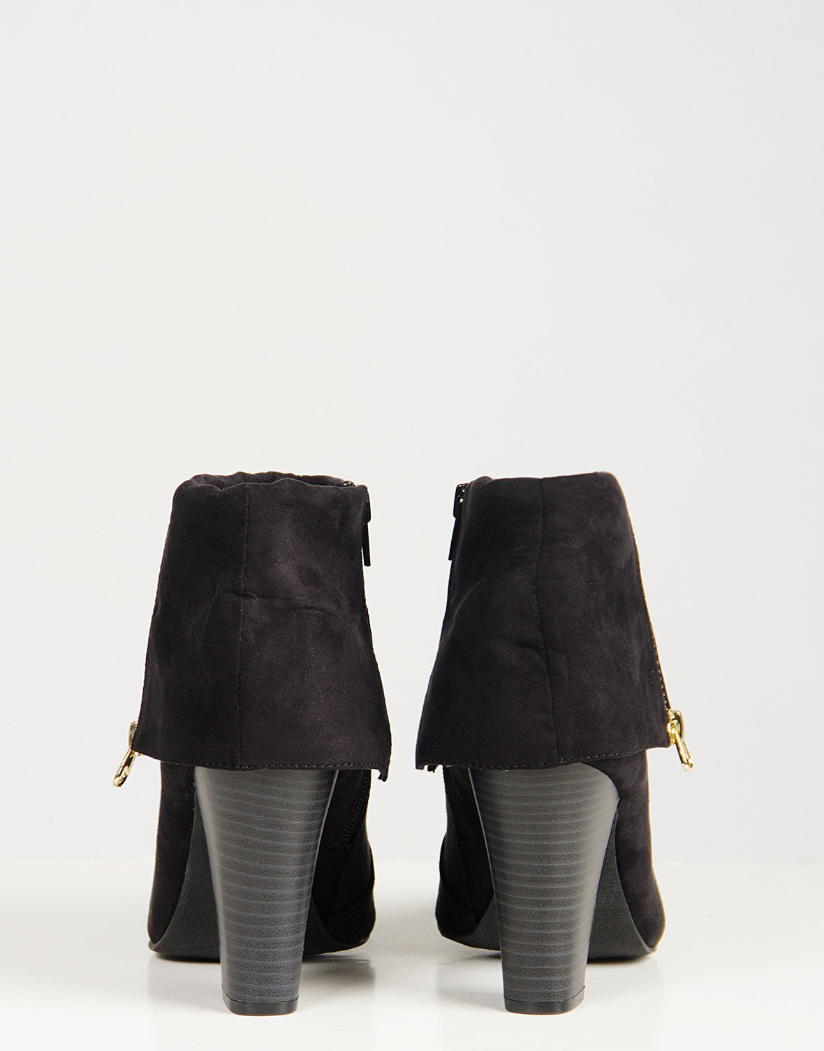 Foldover Suede Ankle Zip Booties