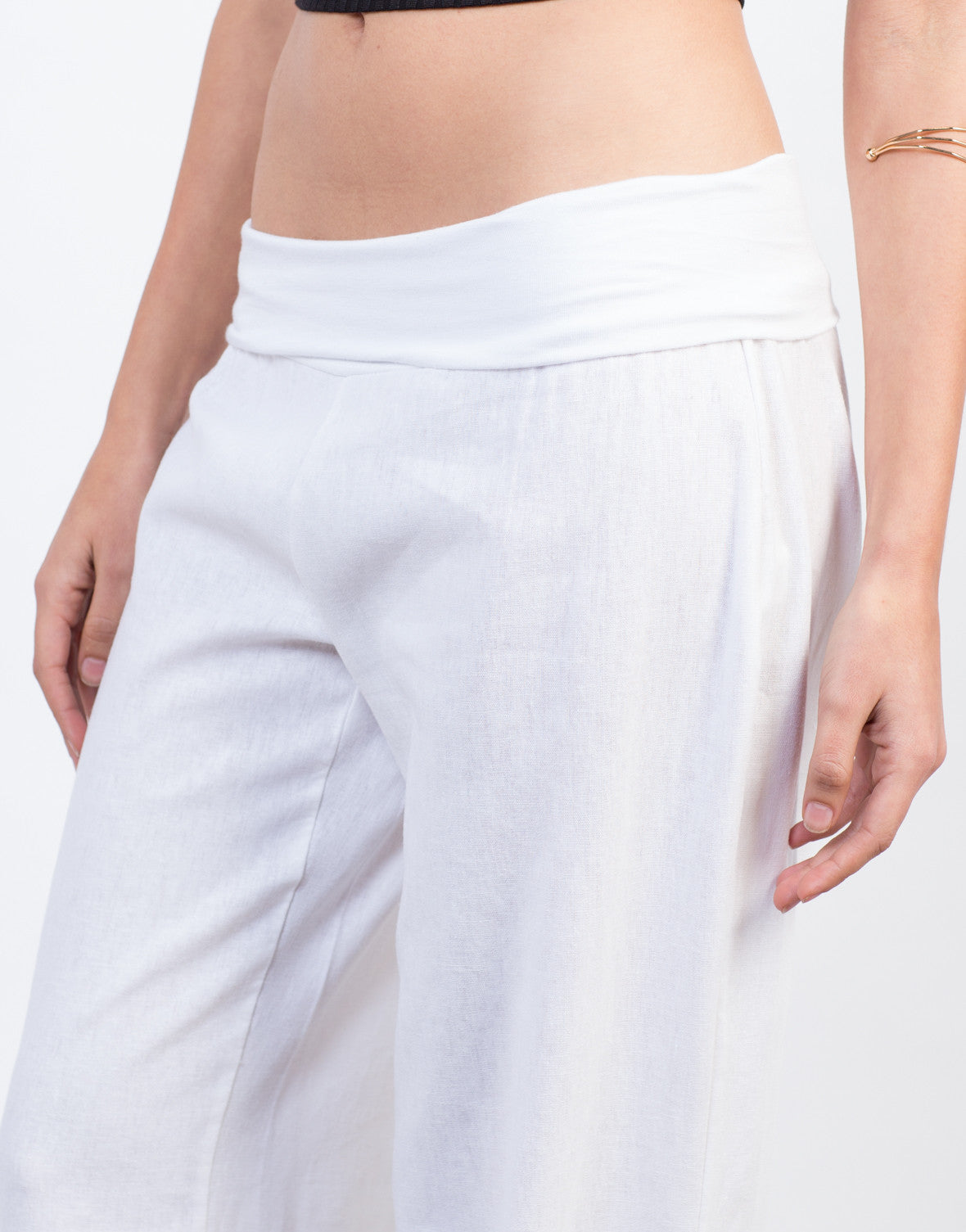 Detail of Fold Over Super Flared Pants