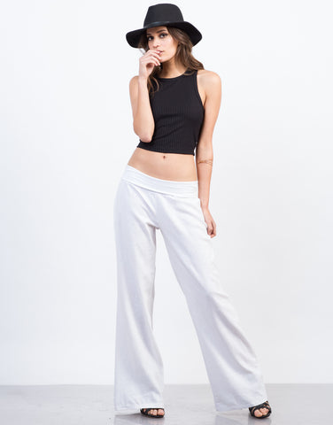 Front View of Fold Over Super Flared Pants