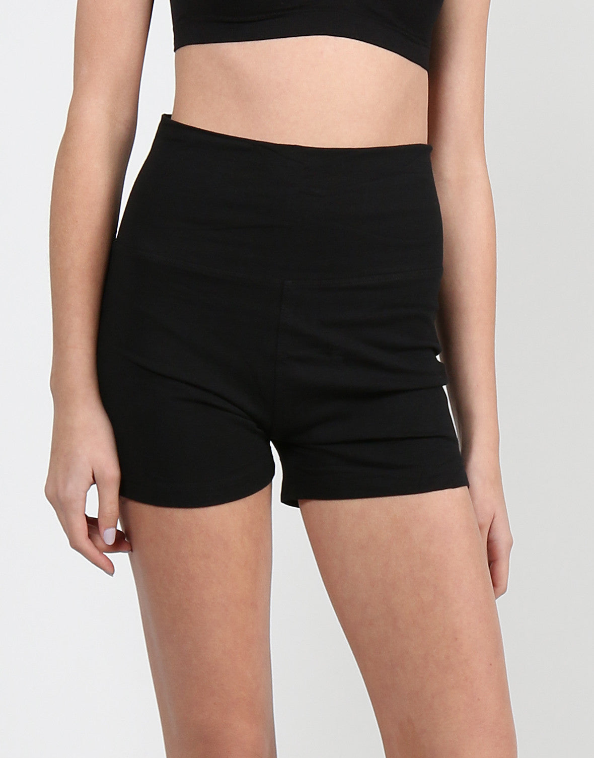 Fold Over Yoga Shorts - Black