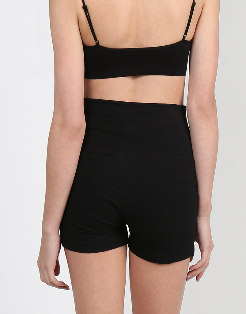 Fold Over Yoga Shorts - Black - 2020AVE