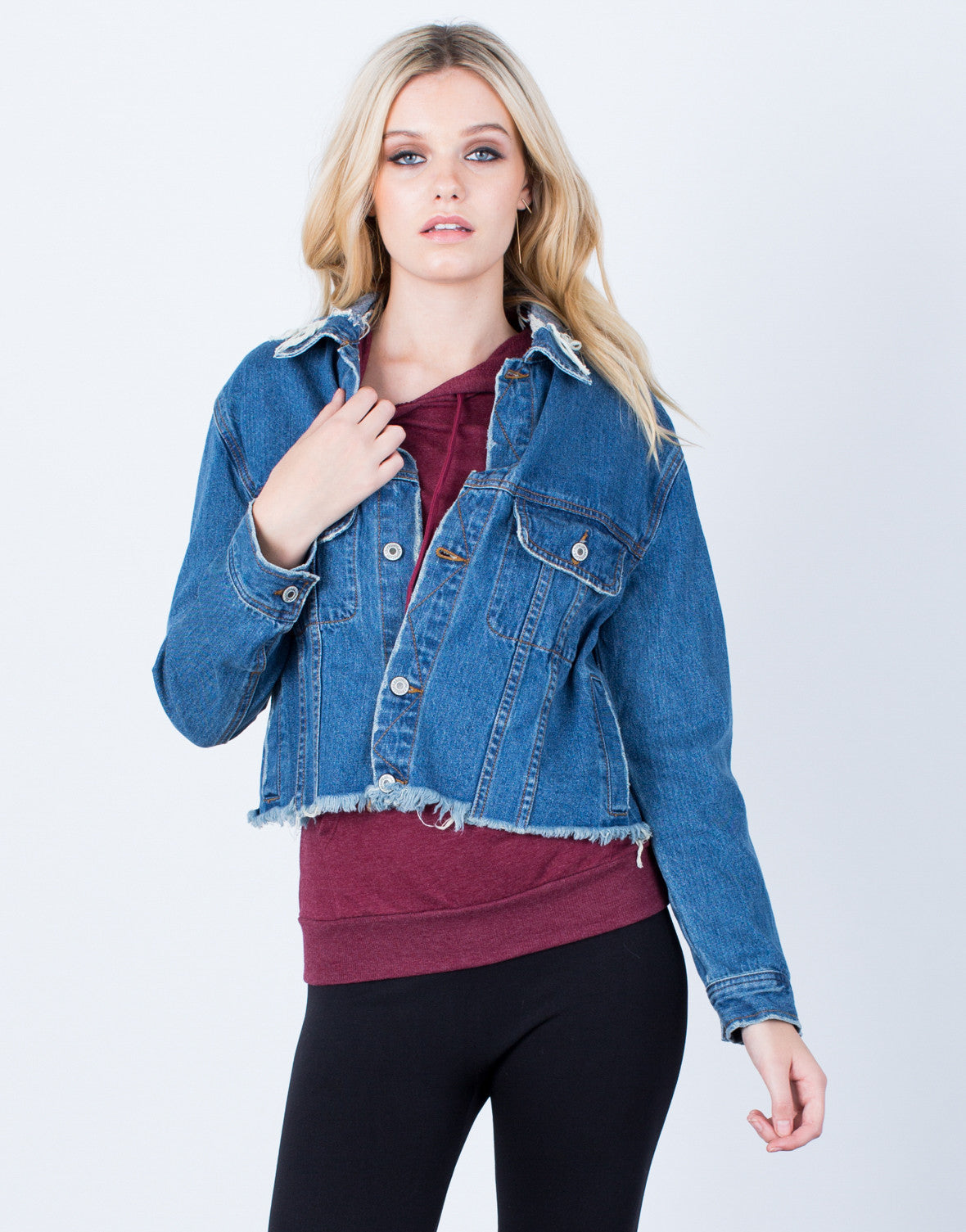 Front View of Frayed Cropped Denim Jacket