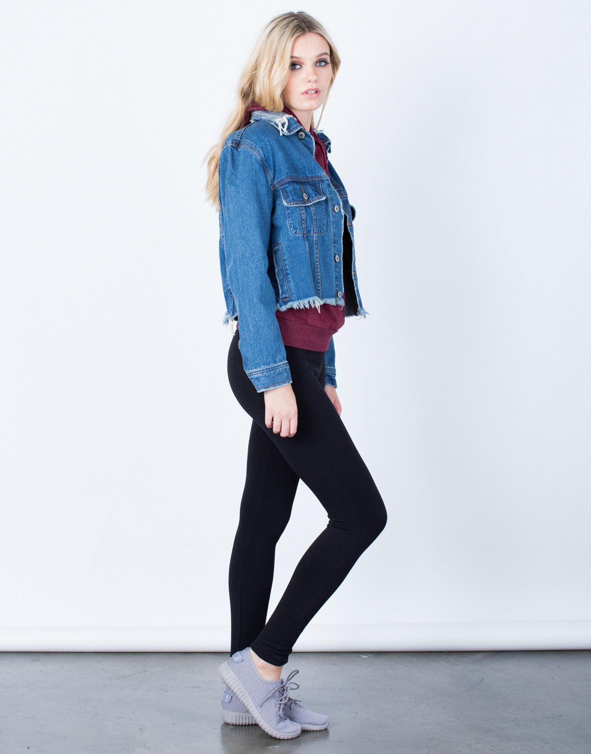 Side View of Frayed Cropped Denim Jacket