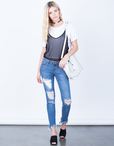 Front View of Frayed Cropped Jeans