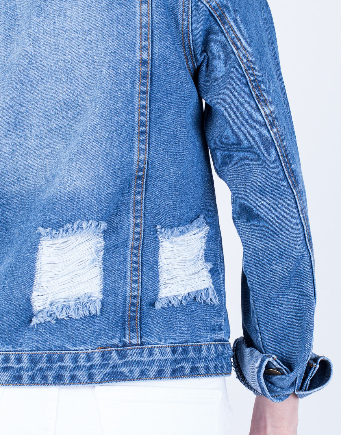 Detail of Frayed Denim Jacket