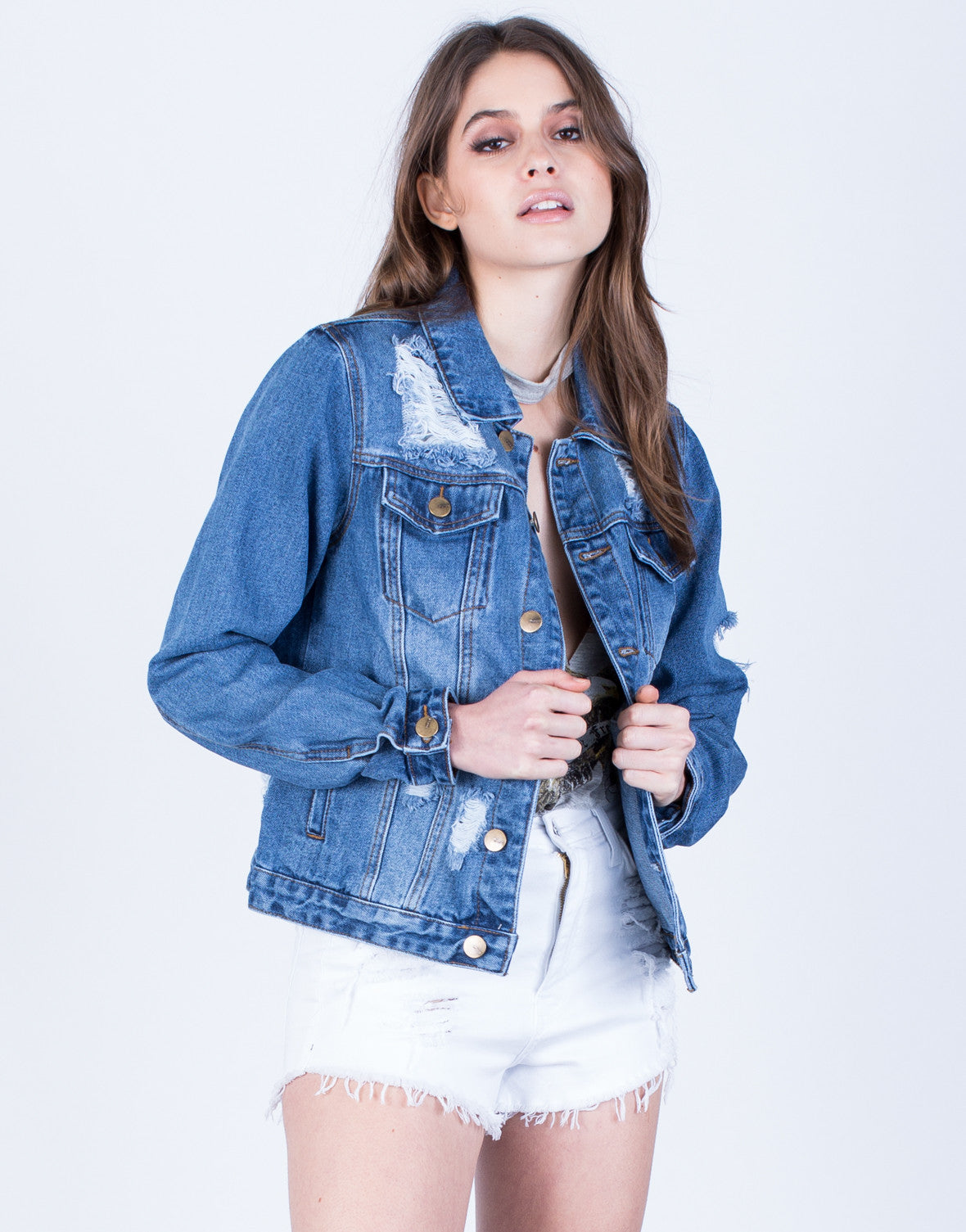 Front View of Frayed Denim Jacket