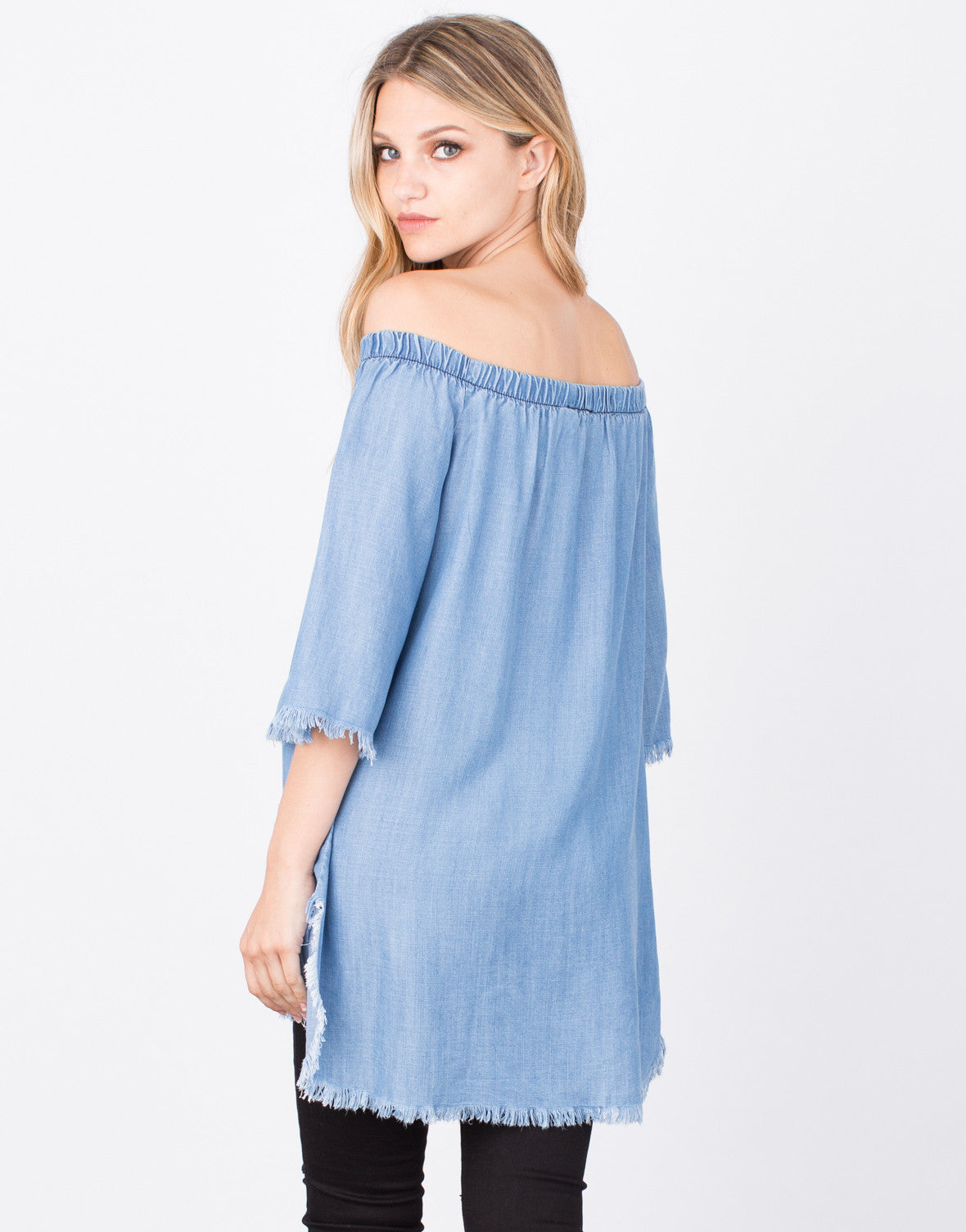 Back View of Frayed Denim Tunic Top