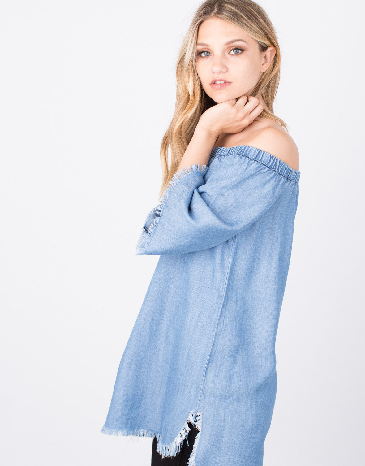 Detail of Frayed Denim Tunic Top