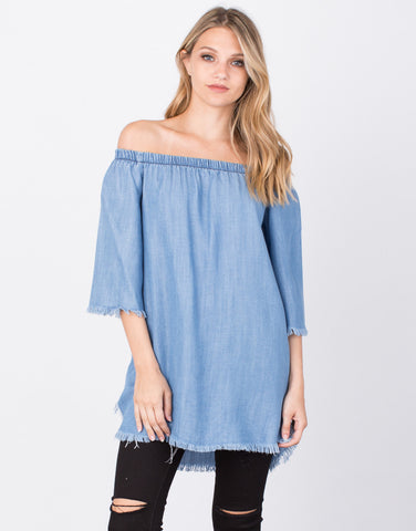 Front View of Frayed Denim Tunic Top