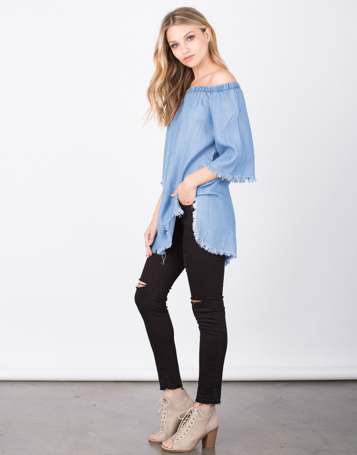 Side View of Frayed Denim Tunic Top