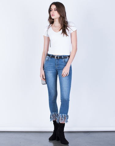 Front View of Frayed Hem Jeans