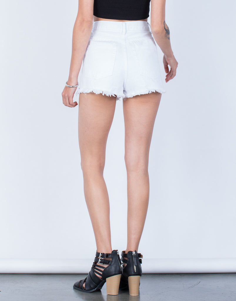 Back View of Frayed High Waisted Shorts