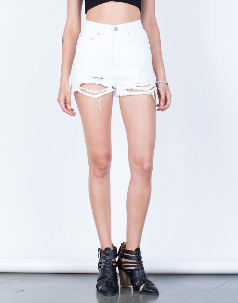 Front View of Frayed High Waisted Shorts